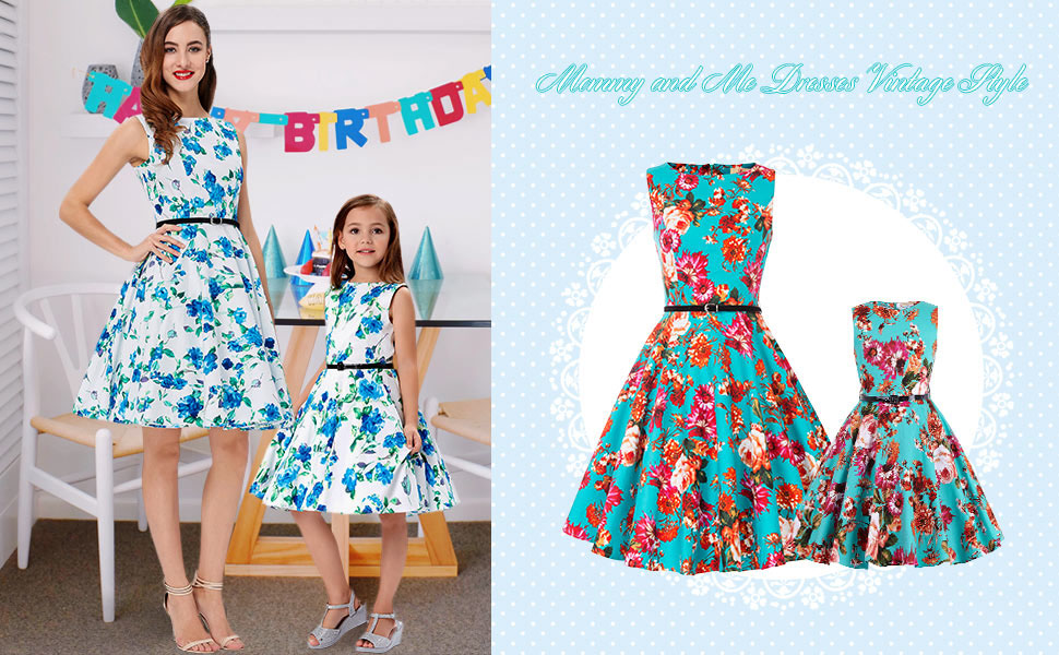 Mommy and Me Dresses Casual Floral Family Outfits Summer Matching Vintage Party  Dress. 2. Round Neck 7d7cd81e339c