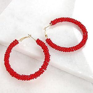 Humble Chic Beaded Hoop Earrings for Women - Statement Big Hoops Bohemian Circle Round Drop Dangles