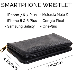 The Smartphone Wristlet is large enough to hold an iPhone 6, 6 plus, 6S, 7, 7 plus, 8, 8 plus, X