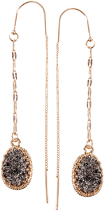 Simulated Druzy Chain Bar Threaders - Gold-Tone Long Sparkly Needle Drop Earrings for Women