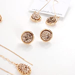 7e9ac088d Simulated Druzy Studs - Gold Round Circle Simple Minimalist Small Crystal  Post Ear Stud Earrings