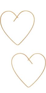 Threader Hoop Earrings for Women - Hypoallergenic Lightweight Thin Wire Dainty Drop Dangles in Heart