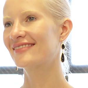 Humble Chic Simulated Druzy Drop Dangles - Long Double Teardrop Dangly Earrings