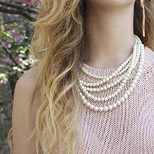 Humble Chic Simulated Pearl Necklace - Long Multi-Layer Strand Faux Round Bead Statement Bib