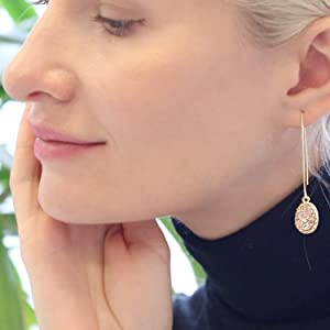 Humble Chic Simulated Druzy Needle Drops Gold Threader Upside-Down Hoop Dangle Earrings for Women