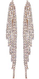 Humble Chic Simulated Diamond Earrings - Darling Waterfall Tassel CZ Statement Chandelier Studs