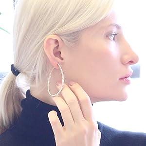 Pierced options oversized rhinestone hoops 1 pair of huge 4 ROSE Gold tone diamante big round CLIP ON hoop earrings