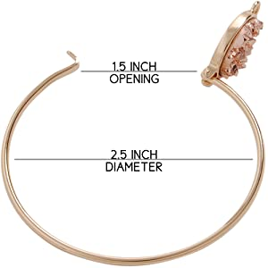 Simulated Druzy Cuff - Stackable Simple Thin Wire Gold-Tone Bangle Bracelets for Women
