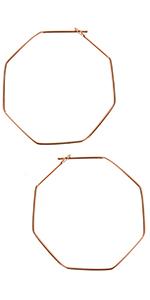 Geometric Chevron Threader Hoop Earrings - Hypoallergenic Lightweight Cutout Thin Wire Drop Dangles