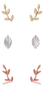 Humble Chic Tiny Leaf Ear Climbers - Delicate Crawler Cuff Stud Jacket Earrings