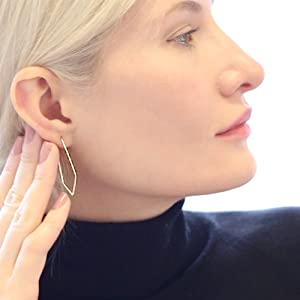 Geometric Chevron Threader Hoop Earrings