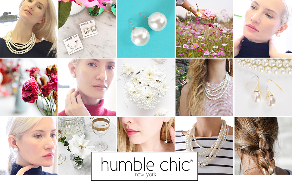 Humble Chic Simulated Pearl Studs - Big Classic Faux Round Oversized Ear Stud Earrings for Women