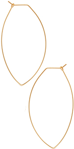 Marquise Threader Big Hoop Earrings - Lightweight Oval Leaf Statement Drop Dangles