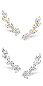 Humble Chic Leaf Cuff Bracelet - Adjustable Stackable Wire Crystal Dainty Arm Bangles for Women