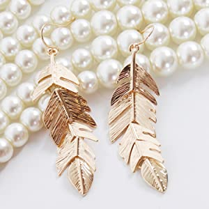 Humble Chic Floating Feathers Dangle Earrings - Long Hanging Metal Link Leaf Drops