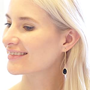 Humble Chic Simulated Druzy Needle Drops - Threader Upside-Down Hoop Dangle Earrings