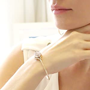 Humble Chic Simulated Druzy Cuff - Stackable Simple Thin Wire Gold-Tone Bangle Bracelets for Women