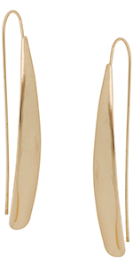 Humble Chic Teardrop Simulated Pearl Dangles - Oval-Shaped Hanging Bead Threader Drop Earrings