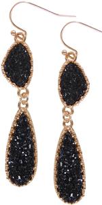 Simulated Druzy Drop Dangles - Gold-Tone Long Double Teardrop Dangly Earrings for Women