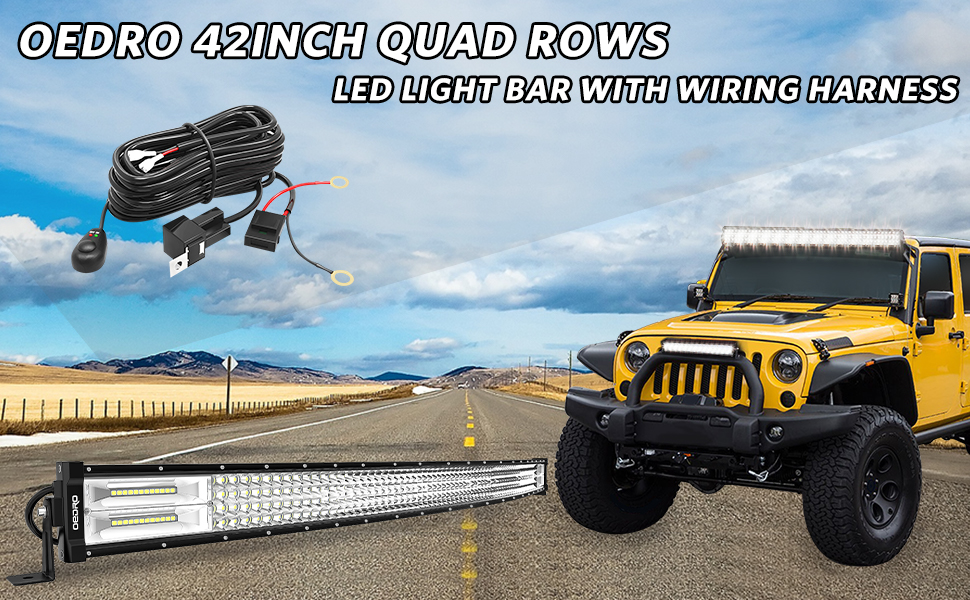 OEDRO 42 INCHES QUAD ROWS LED LIGHT BAR WITH WIRING BAR