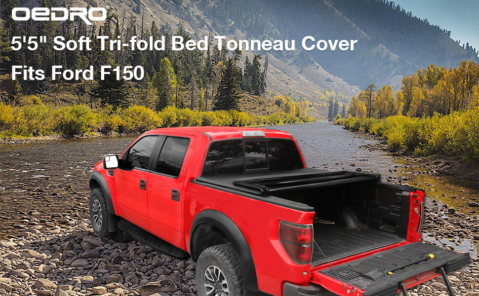Styleside oEdRo Upgraded Soft Tri-fold Truck Bed Tonneau Cover On Top Compatible for 2009-2014 Ford F150 F-150 with 5.5ft Bed