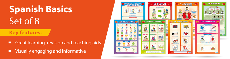 The set of 8 Spanish posters is ideal for the classroom and can be used as reference tools throughout lessons by both students and teachers.