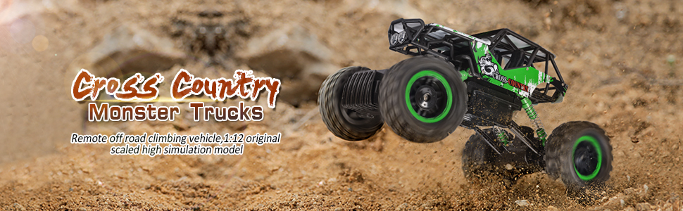 Double E 1/12 RC Rock Crawler Remote Control Truck 4WD Rechargeable Vehicles Off-Road Car
