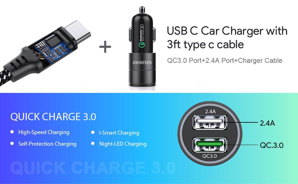 Amazon Com  Usb Type C Car Charger  Joomfeen Qualcomm