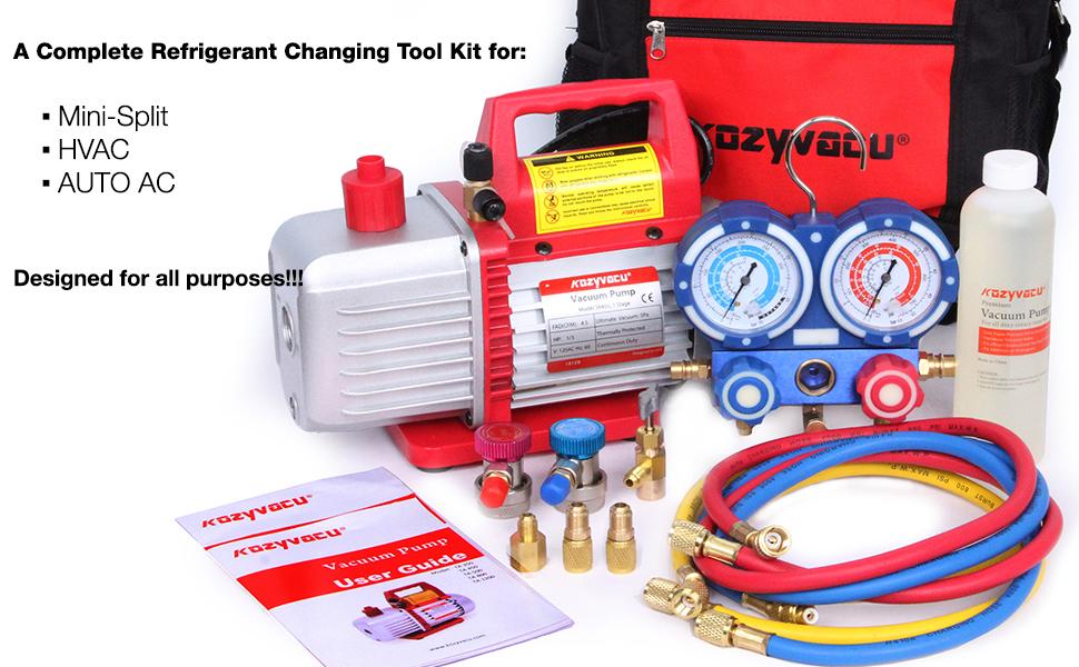 Refrigerant Changing tool kit for mini-split, AUTO AC and HVAC