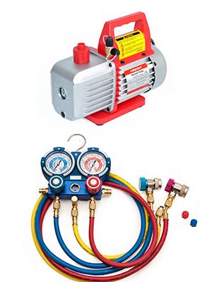 Manifold, three colored hoses, and vacuum pump