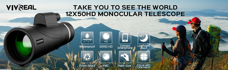 Monocular Telescope, 12X50 High Power HD Monocular with Smartphone Holder & Tripod - [2019 Newest]