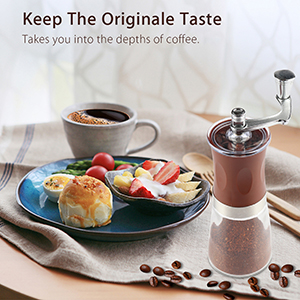 Pococina Hand Grinder Ceramic Conical Burr Mill Hand Crank Coffee Bean Grinder for Home Office Travel Camping Manual Coffee Grinder with Soft Brush