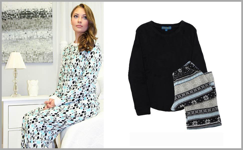 47329bdb0 Amazon.com  PajamaMania Women s Sleepwear Fleece Long Sleeve Pajamas ...