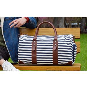 "Oflamn 21/"" Waterproof Large Duffle Bag Canvas Leather Weekender Overnight Travel"