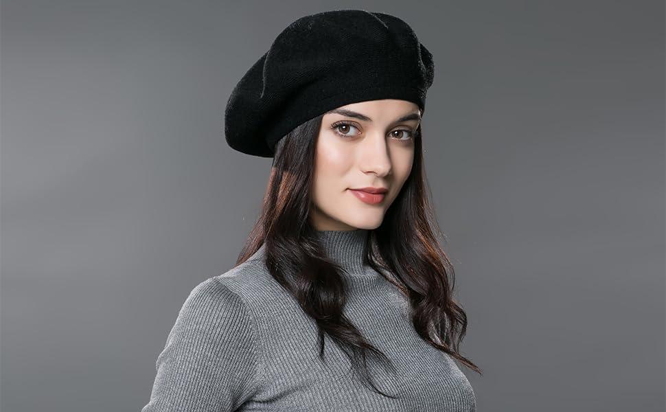 e1a7cd6821b ENJOYFUR Women Beret Hat Wool Knitted Cap Autumn Winter Hat (Black ...