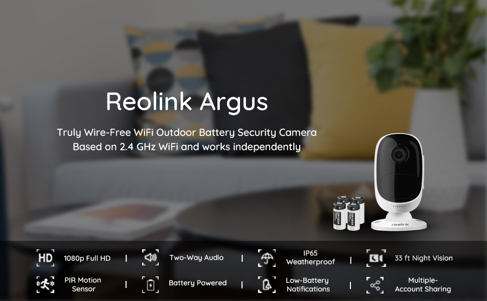 Reolink Argus 1080p HD Wire-Free WiFi Battery-Powered Smart Security IP Camera