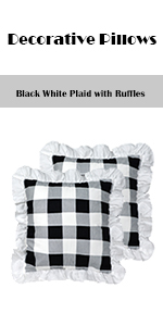 Plaid Pillow cover with Ruffles