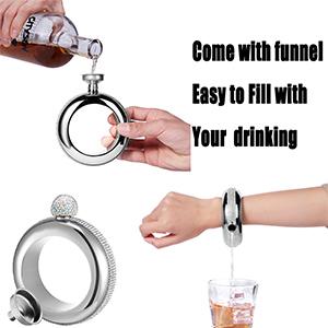 silver flask bracelet with rhinestone