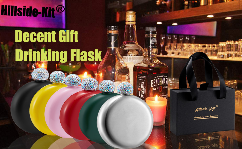 2 Pieces 304 Stainless Steel Wine Liquor Flask Crystal Liquor Hip Flask Black and White Glitter Whiskey Flasks 5 oz Cute Liquor Flask with Crystal Lid Funnel and Glitter Coating for Women Present