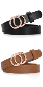 """Skinny Double Ring Leather Belts 0.86"""""""