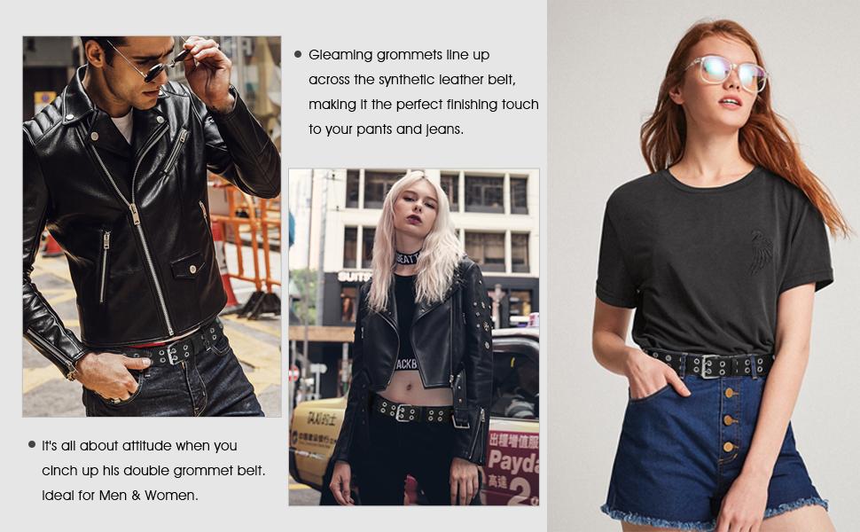 punk rock belt with double grommet