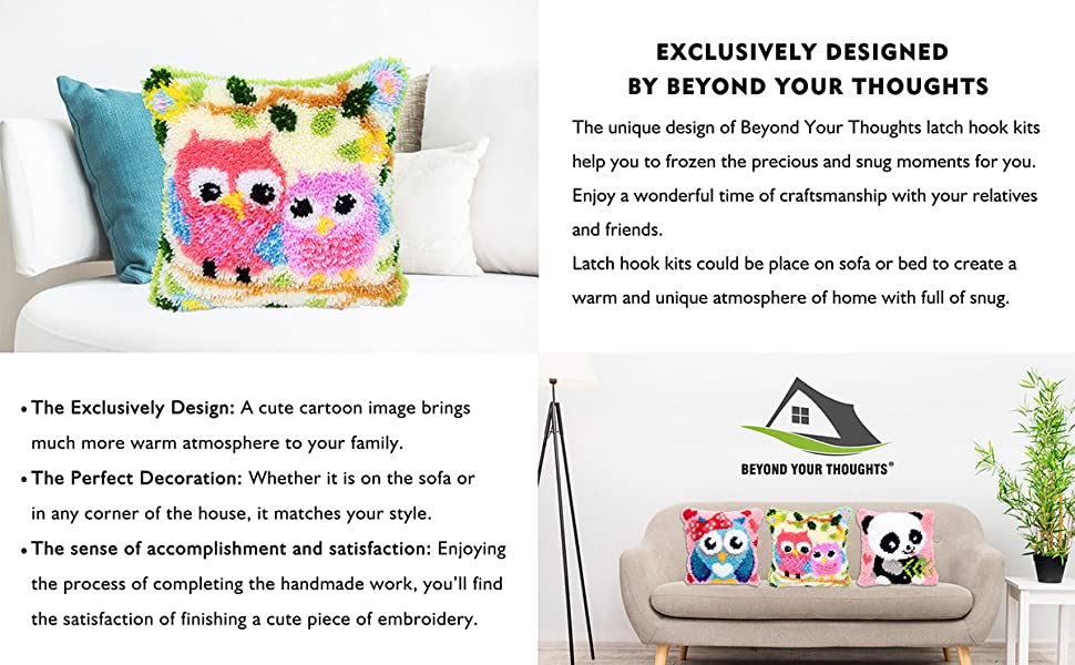 Beyond Your Thoughts 13 Model Latch Hook Kits for DIY Throw Pillow Cover Sofa Cushion Cover Owl/Dog/Cat/Bear/Bird with Pattern Printed 16X16 inch ...
