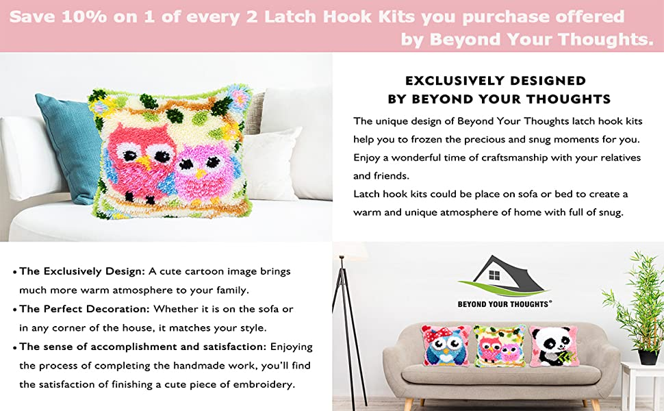 Christmas Latch Hook Kits for DIY Throw Pillow Cover Sofa Cushion Cover Snowman with Pattern Printed 16X16 inch