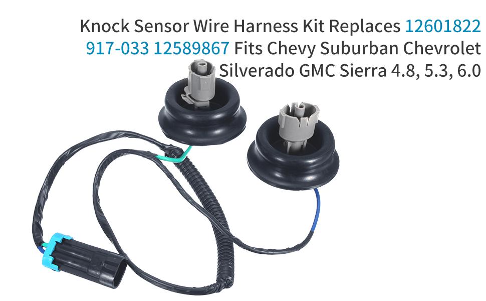 Replcae Part# 12601822 12589867 Compatible with Chevrolet Chevy Suburban Silverado Avalanche Tahoe Sierra Yukon Envoy Cadillac CTS Escalade Hummer H2 AGAIN Knock Sensor Wire Harness Kit SEEU