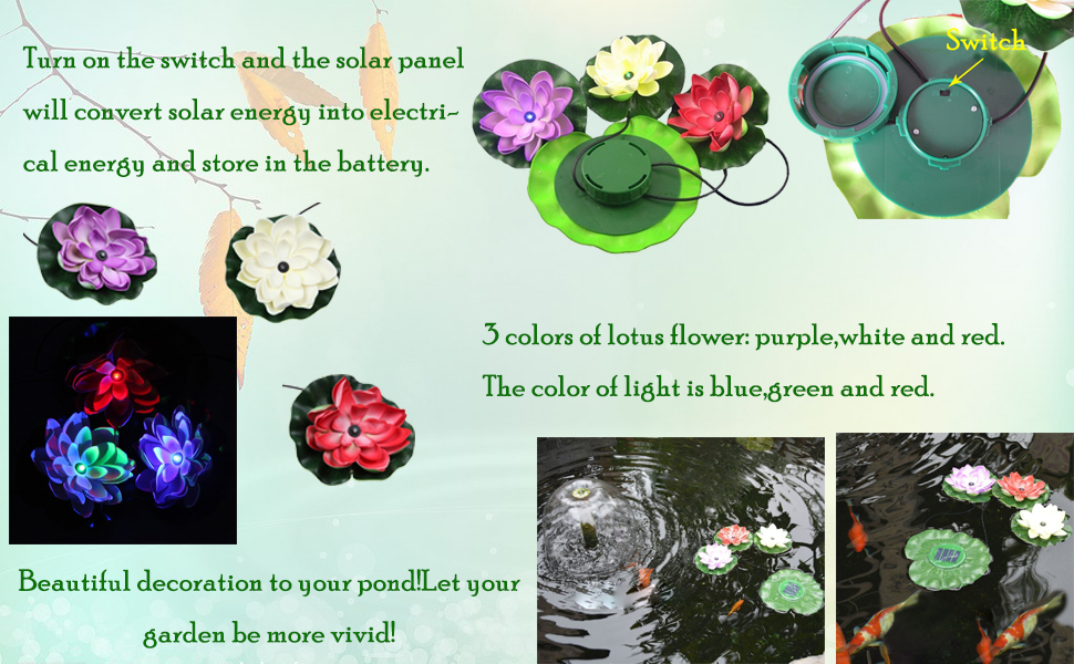 Amazon winterworm solar powered rgb colors led floating lotus rechargeable battery 1 pc of ni mh aa type 12v400mah led 1pc red 1pc blue 1 pc green lotus leaves green lotus flowers1 pc red mightylinksfo