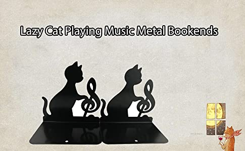 Winterworm Cute lovely Funny Lazy Cat Playing Music Nonskid Thickening Iron Library School Office Home Study metal Bookends Book End Violin
