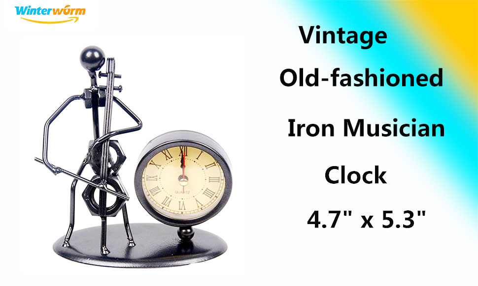 Classic Vintage Old Fashion Iron Art Musician Clock Figure Ornament For Home Office Desk Decoration Gift C62 Cello