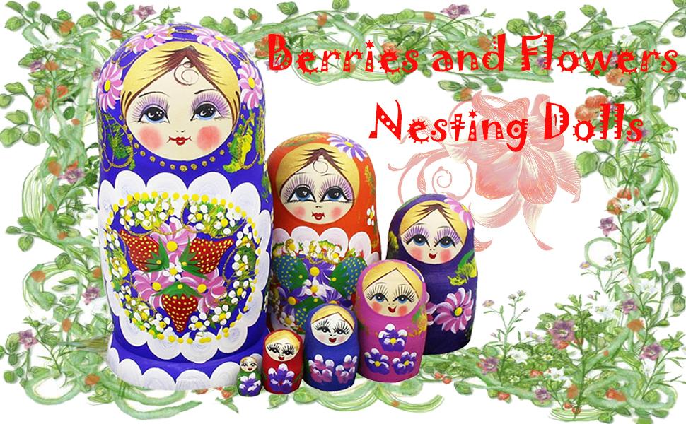 WinterwormR Set Of 7 Berries And Flowers Patterns Wooden Nesting Dolls Matryoshka Russian Doll