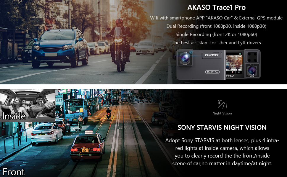 Dual Dash Cam - AKASO Trace 1 Pro 2K WiFi with Phone App External GPS Front  and Inside Lens with Sony STARVIS 340° Coverage Included 32GB Card