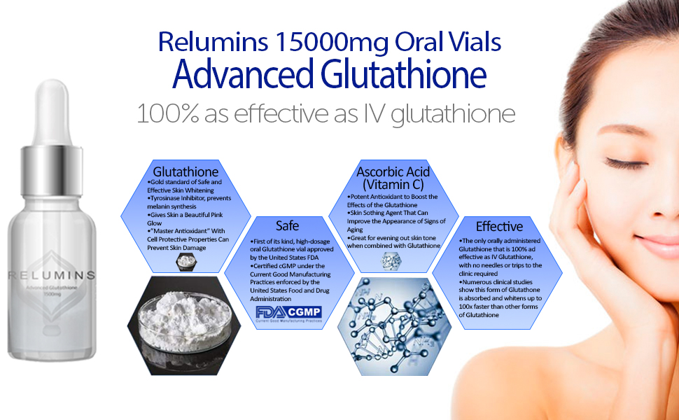 Details about Relumins Advanced Oral Sublingual Glutathione 15000mg Skin  Whitening 10 Vials